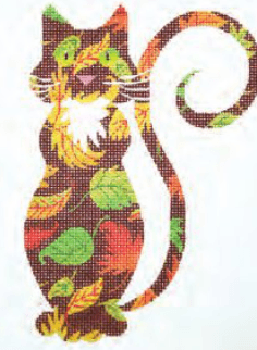 Autumn Cat Painted Canvas Lee's Needle Art Inc.