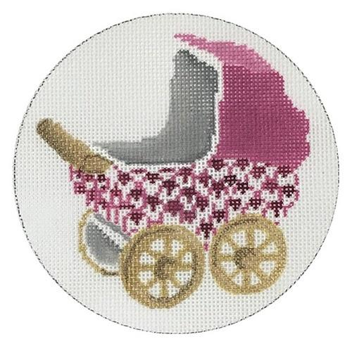 Baby Carriage - Pink Painted Canvas CBK Needlepoint Collections