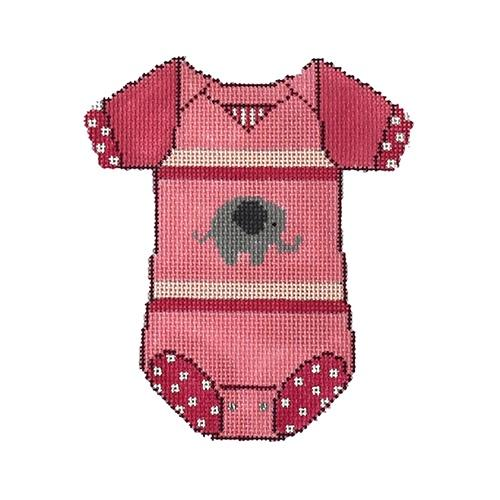 Baby Onesie - Pink with Elephant Painted Canvas The Meredith Collection