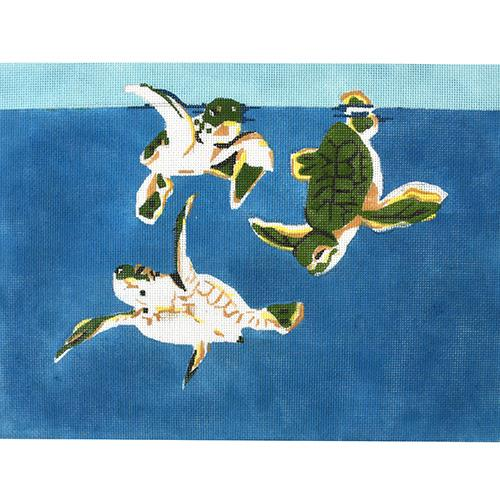 Baby Sea Turtles Painted Canvas Waterweave