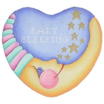 Baby Sleeping Moon Heart - Pink & Turquoise Painted Canvas Burnett & Bradley