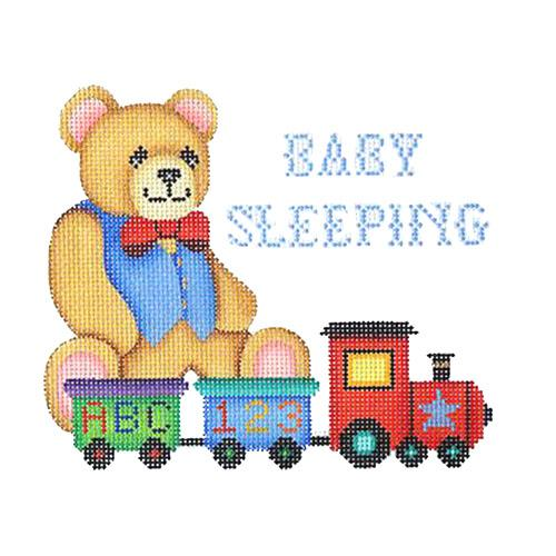 Baby Sleeping Sign - Bear Painted Canvas Burnett & Bradley