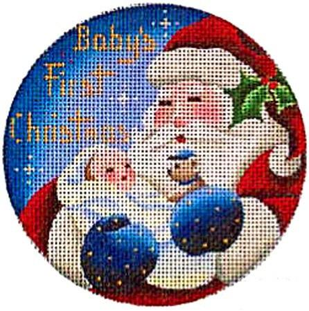 Baby's First, Boy Ornament Painted Canvas Rebecca Wood Designs