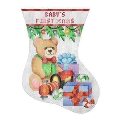 Baby's First Christmas Mini Stocking - Bear Painted Canvas Burnett & Bradley