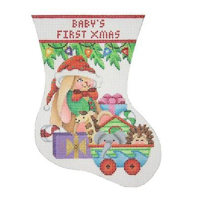 Baby's First Christmas Mini Stocking - Bunny Painted Canvas Burnett & Bradley