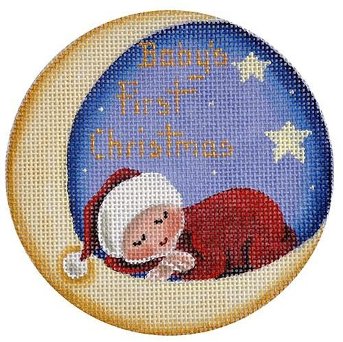 Baby's First Christmas Moon Painted Canvas Rebecca Wood Designs