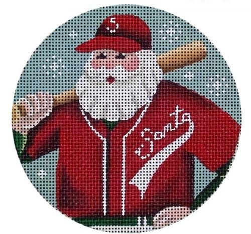 Baseball Santa Painted Canvas Rebecca Wood Designs