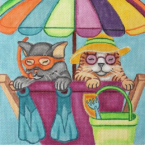 Beach Cats on 13 Painted Canvas Nenah Stone Designs