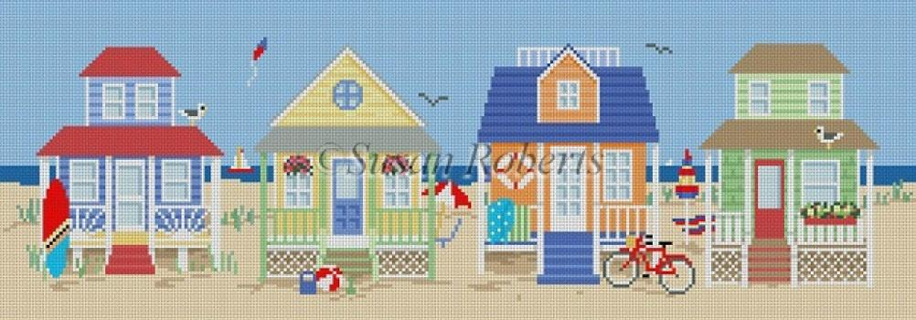 Beach Houses Painted Canvas Susan Roberts Needlepoint Designs Inc.