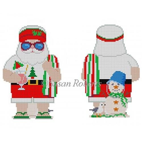Beach Santa Two Sided Painted Canvas Susan Roberts Needlepoint Designs Inc.