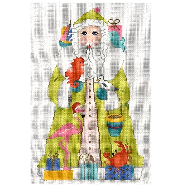 Beach Santa (VNG) Painted Canvas Vallerie Needlepoint Gallery