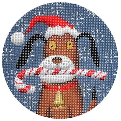 Beagle Xmas Circle Painted Canvas Kirk & Bradley