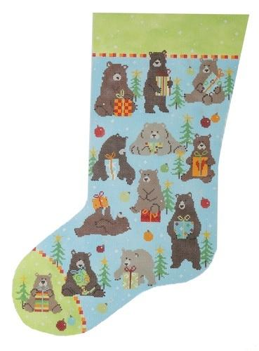 Bear Stocking Painted Canvas Pippin