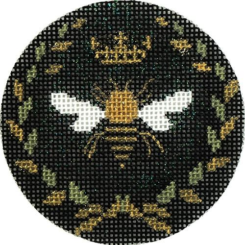 Bee 3 Inch Round Painted Canvas Funda Scully