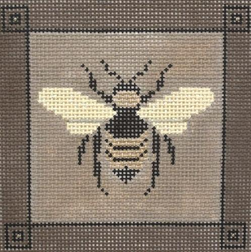 Bee in Taupe Painted Canvas JP Needlepoint