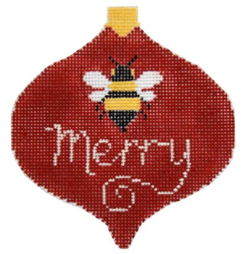 Bee Merry Bauble Painted Canvas Kathy Schenkel Designs