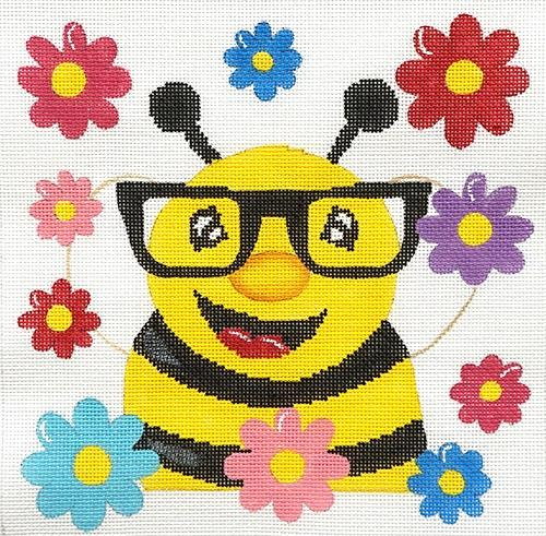 Bee with Glasses Painted Canvas Danji Designs
