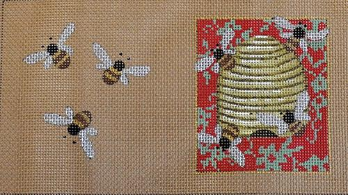 Beehive Needlecase Painted Canvas Kirk & Bradley