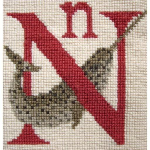 Beginner Needlepoint Kit Alphabet Letter N - Narwhal Kits Elizabeth Bradley Design