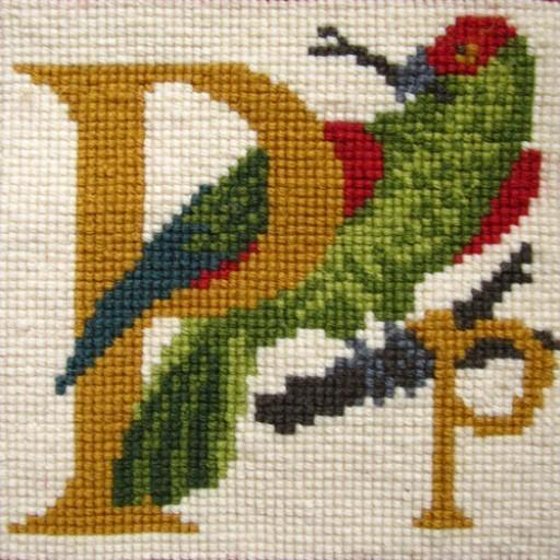 Beginner Needlepoint Kit Animal Alphabet Letter P - Parrot Kits Elizabeth Bradley Design