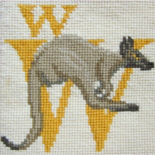 Beginner Needlepoint Kit Animal Alphabet Letter W - Wallaby Kits Elizabeth Bradley Design