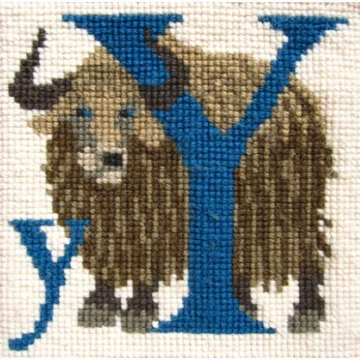 Beginner Needlepoint Kit Animal Alphabet Letter Y - Yak Kits Elizabeth Bradley Design