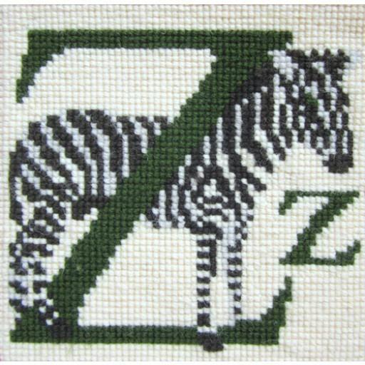 Beginner Needlepoint Kit Animal Alphabet Letter Z - Zebra Kits Elizabeth Bradley Design