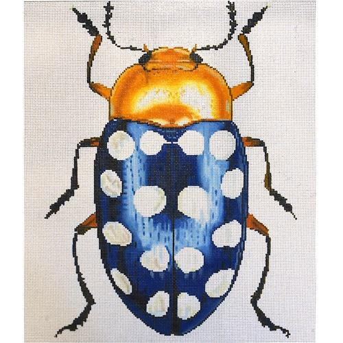 Big Bug Blue with White Dots Painted Canvas The Meredith Collection