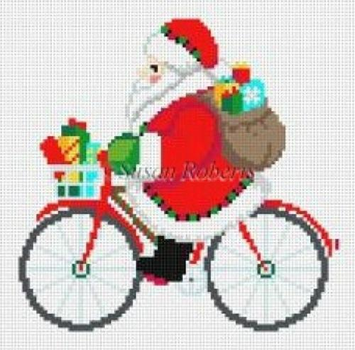Biking Santa Painted Canvas Susan Roberts Needlepoint Designs, Inc.