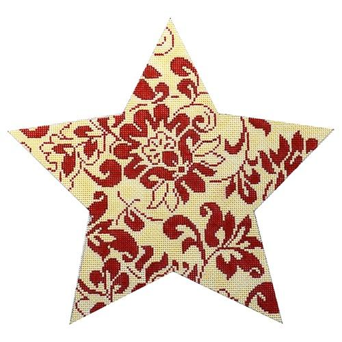 Bill's Red and Ivory Tree Topper Star Painted Canvas Whimsy & Grace