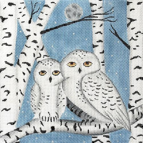 Birch Snowy Owls on 13 Painted Canvas Nenah Stone Designs