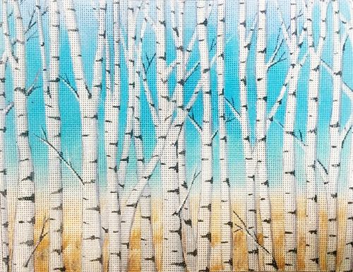 Birch Trees Painted Canvas Alice Peterson