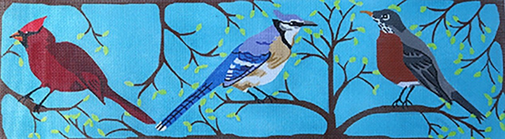 Bird Trio Painted Canvas Chris Lewis