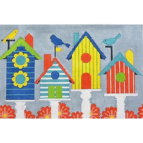 Birdhouses Painted Canvas CBK Needlepoint Collections