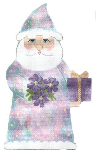 Birthstone Santa October Painted Canvas Labors of Love Needlepoint