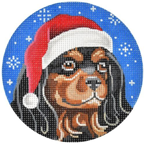Black and Tan Cavalier Santa Painted Canvas Pepperberry Designs