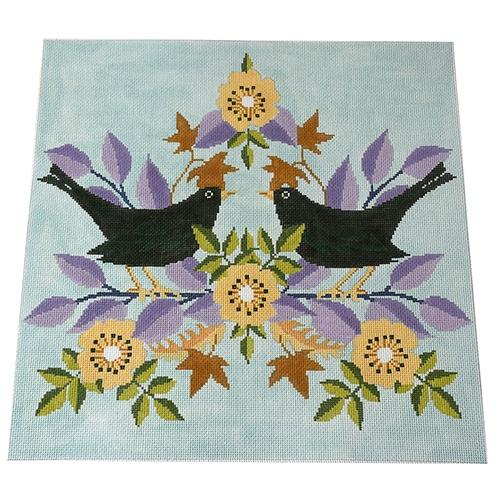 Black Birds Painted Canvas The Meredith Collection