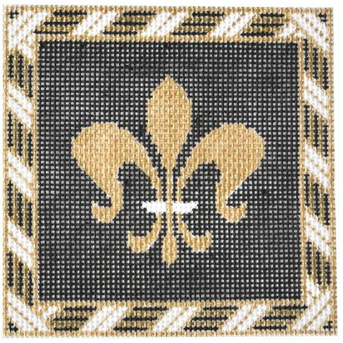 Black Fleur de Lis Painted Canvas JP Needlepoint
