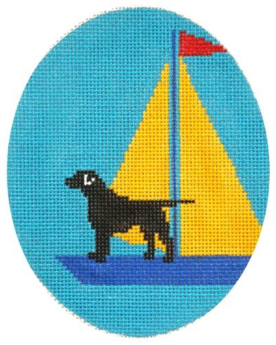 Black Lab - Yellow Sail Painted Canvas CBK Needlepoint Collections
