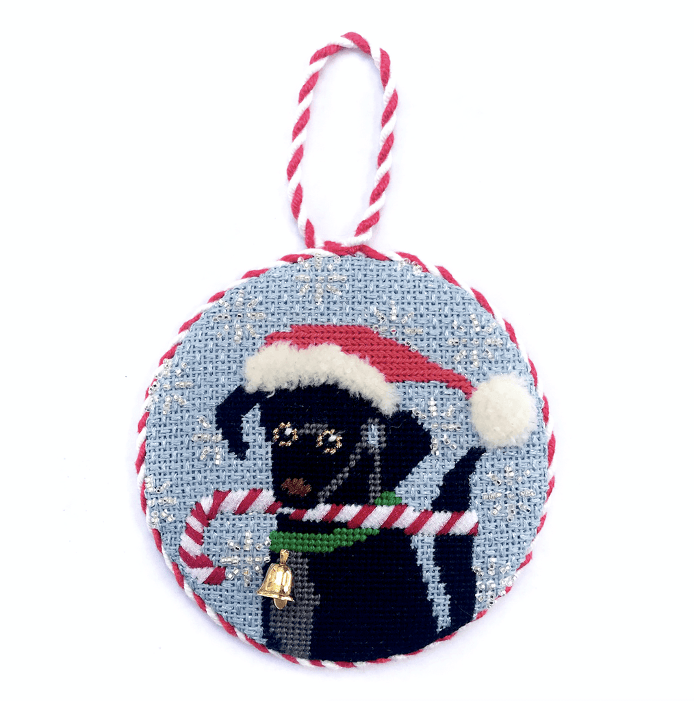 Black Labrador Xmas Circle Painted Canvas Kirk & Bradley