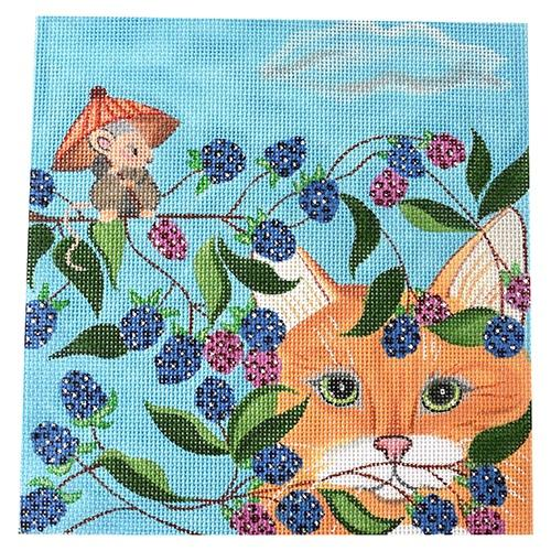 Blackberry Cat on 13 Painted Canvas Nenah Stone Designs