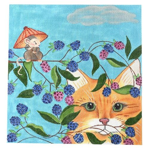 Blackberry Cat on 18 Painted Canvas Nenah Stone Designs