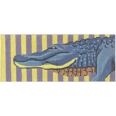 Blue Alligator with Purple/Yellow Background Painted Canvas Colors of Praise