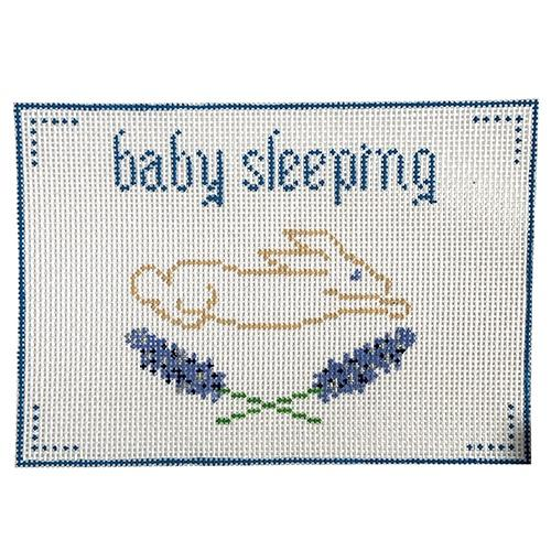 Blue Baby Sleeping Painted Canvas Anne Fisher Needlepoint LLC