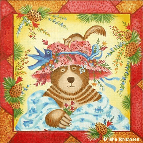 Blue Bird Bear Painted Canvas Melissa Shirley Designs