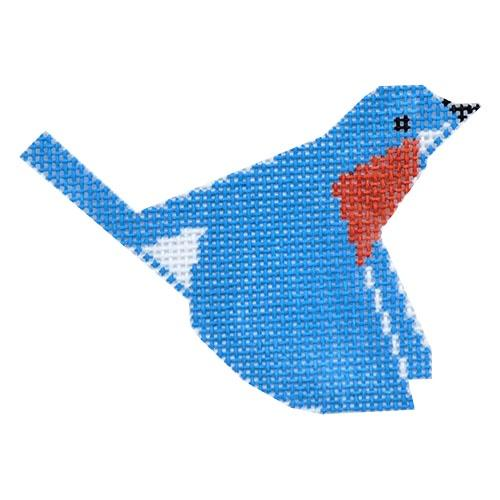 Blue Bird Ornament Painted Canvas Charley Harper