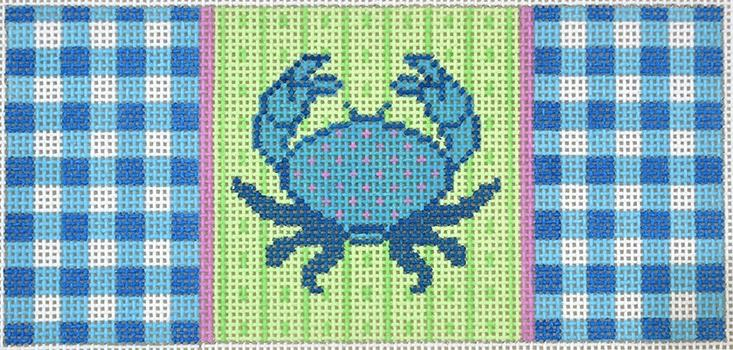 Blue Crab on Gingham Insert Painted Canvas Two Sisters Needlepoint