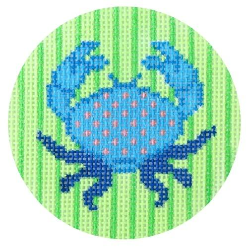 Blue Crab round Painted Canvas Two Sisters Needlepoint