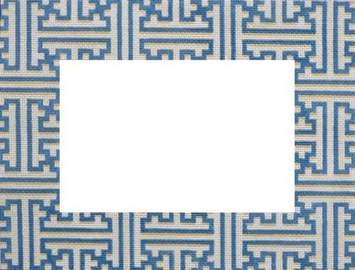 Blue / Cream Fretwork Frame Painted Canvas Associated Talents