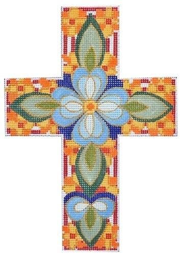 Blue Floral Cross Painted Canvas Ann Wheat Pace Designs